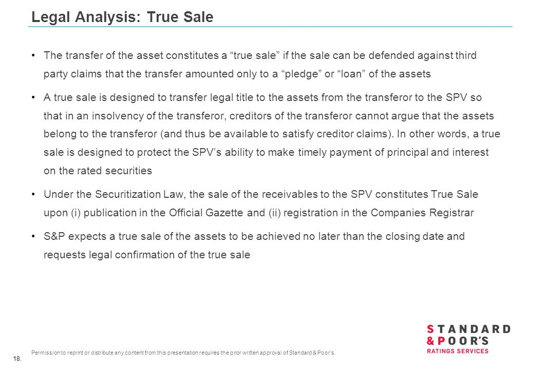 Legal Analysis: True Sale