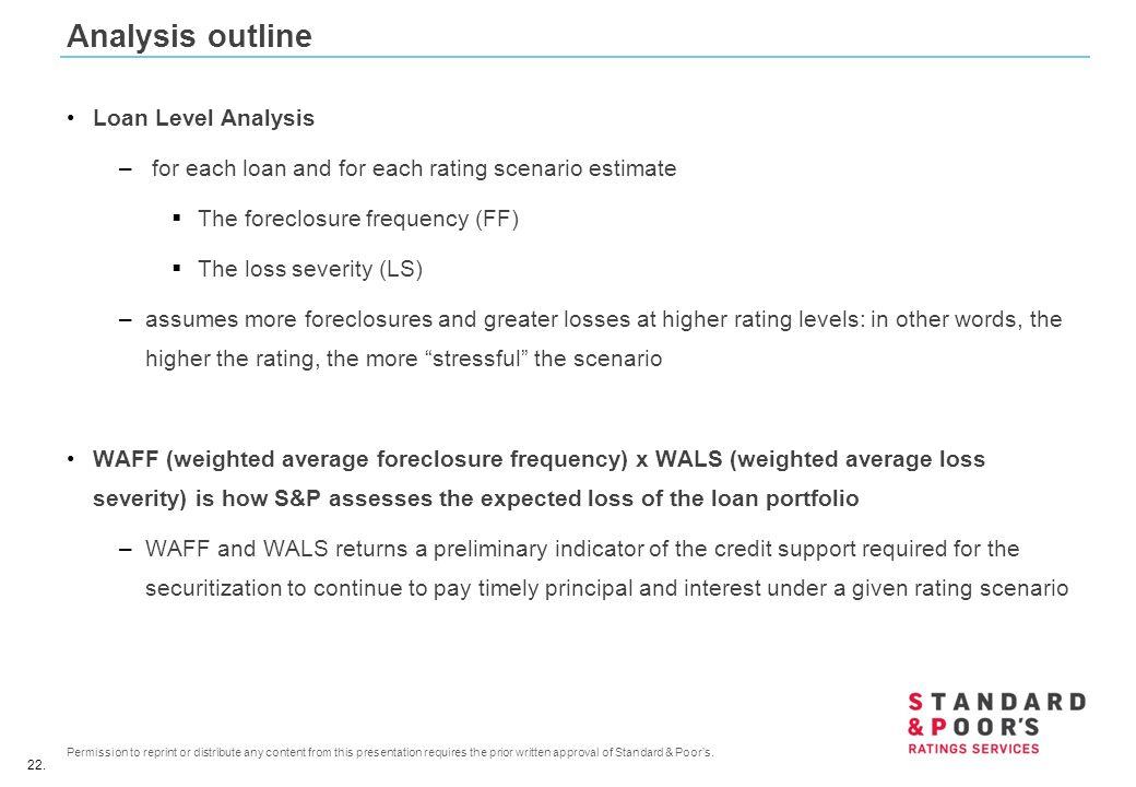 Analysis outline Loan Level Analysis