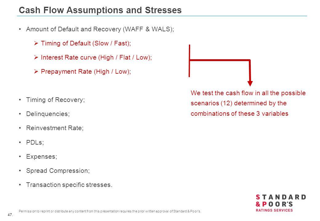 Cash Flow Assumptions and Stresses