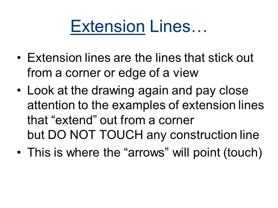 Extension Lines… Extension lines are the lines that stick out from a corner or edge of a view.