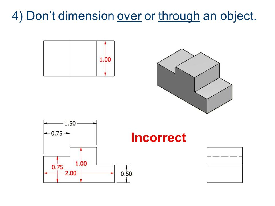Incorrect 4) Don't dimension over or through an object.