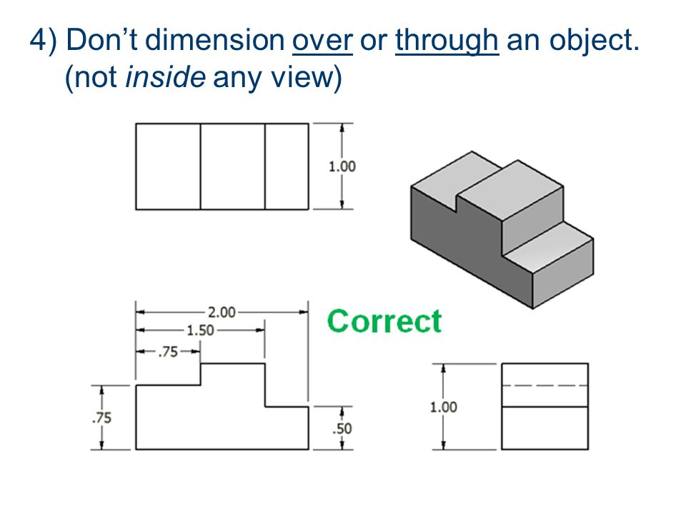 4) Don't dimension over or through an object. (not inside any view)
