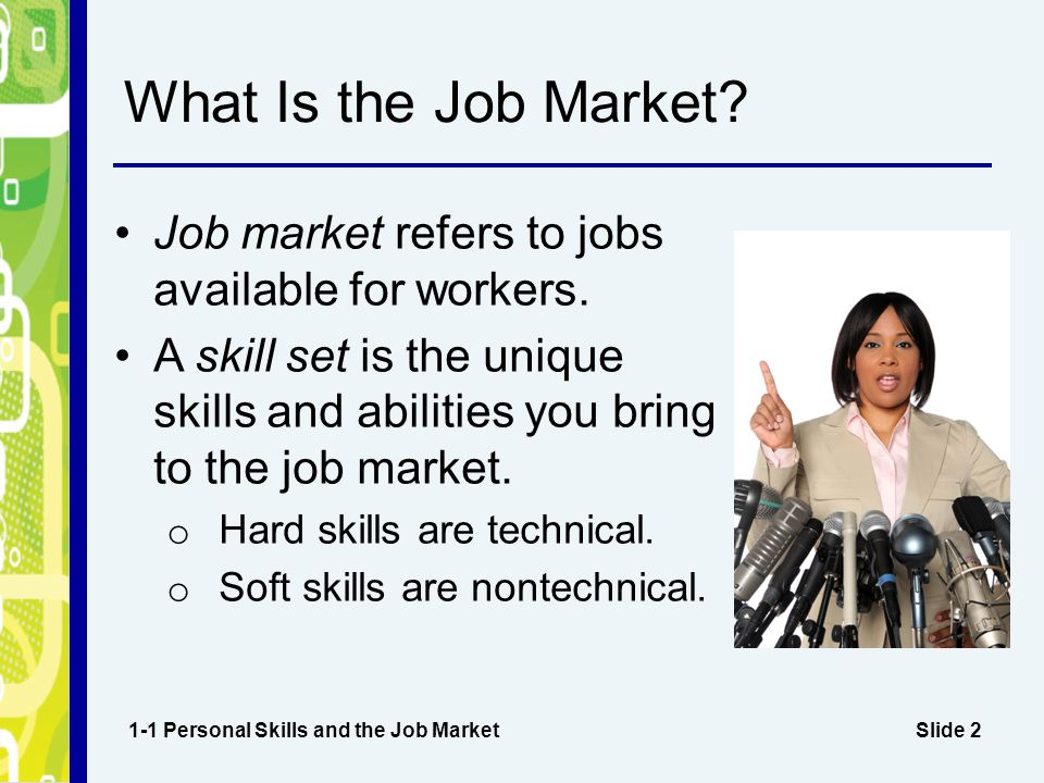 What Is the Job Market Job market refers to jobs available for workers. A skill set is the unique skills and abilities you bring to the job market.