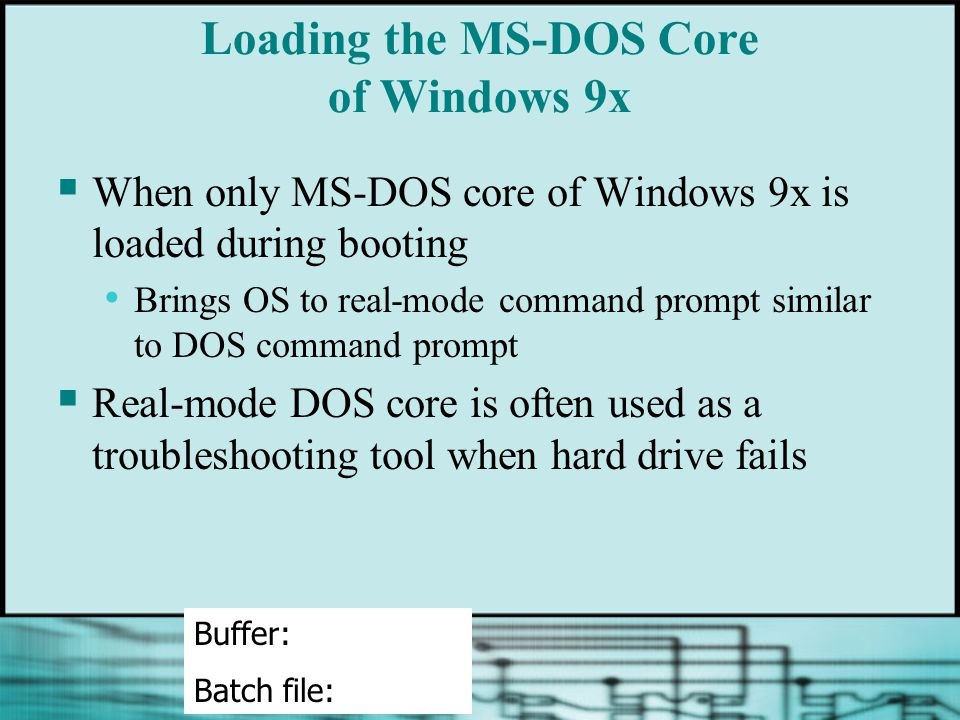 Loading the MS-DOS Core of Windows 9x