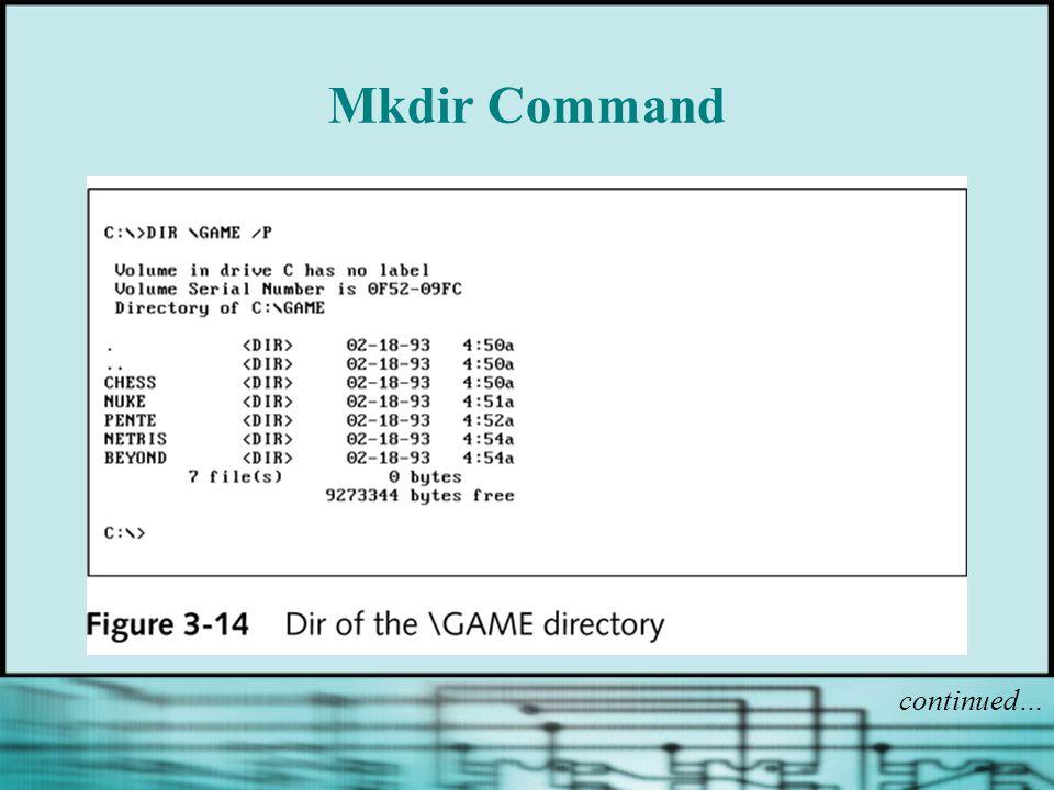 Mkdir Command continued…