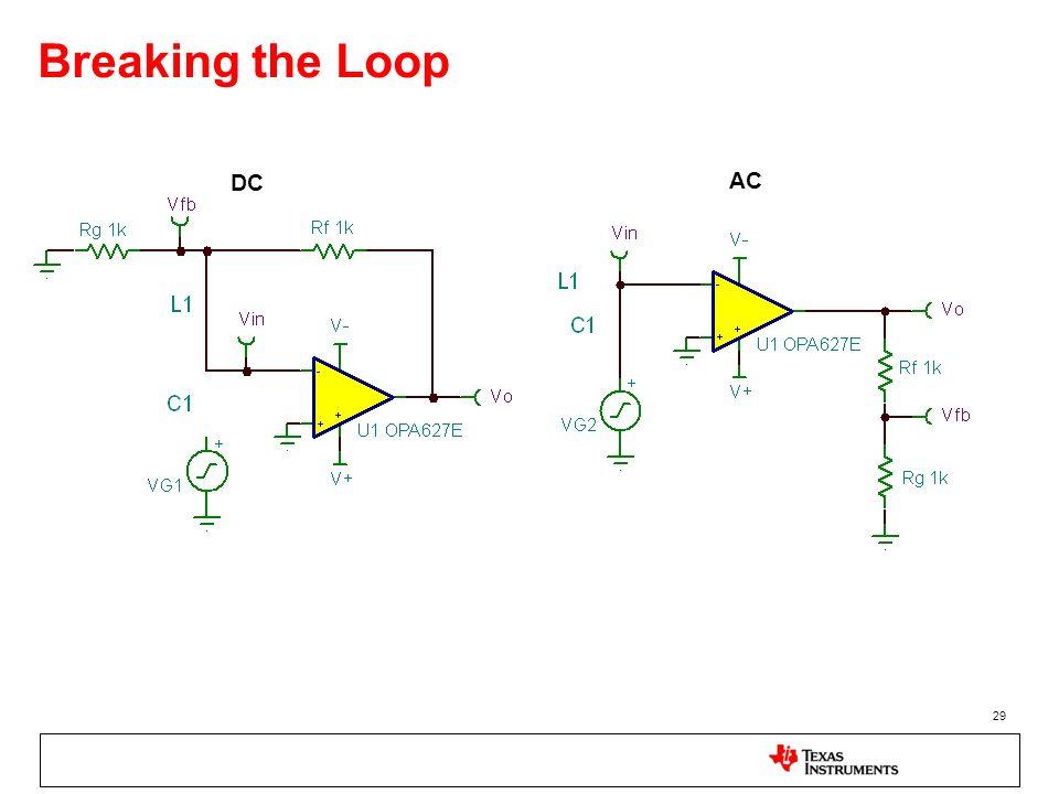Breaking the Loop DC. AC. To determine the open-loop parameters of their closed-loop system the loop must be broken!