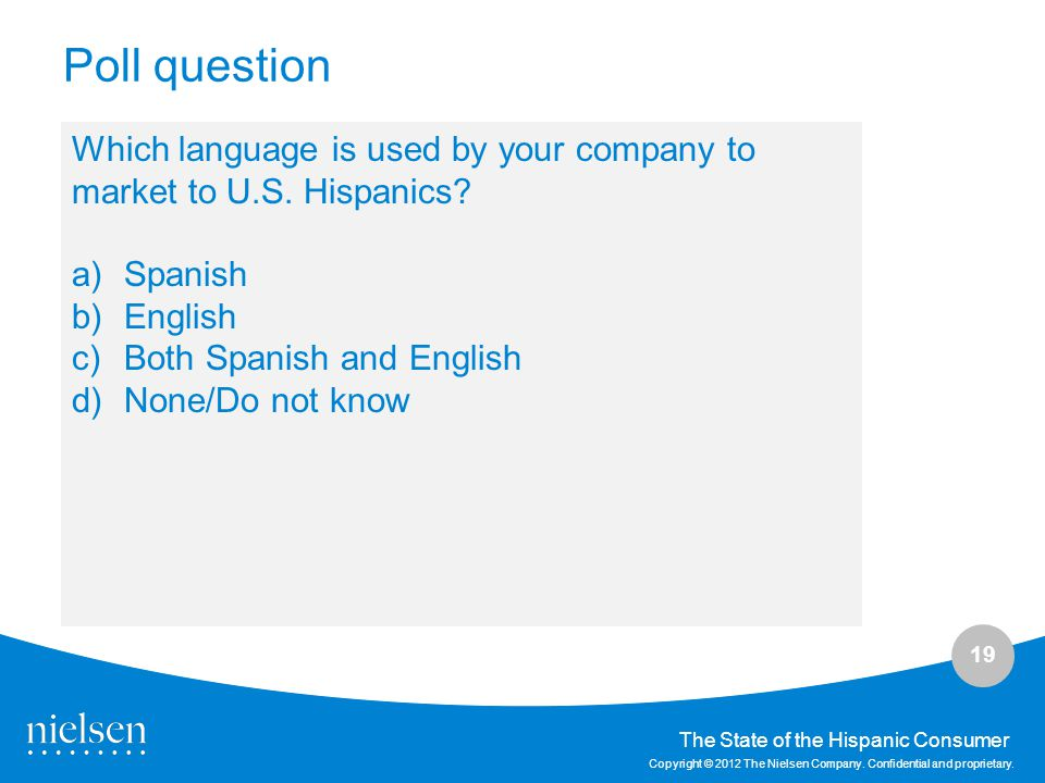 Poll question Which language is used by your company to market to U.S. Hispanics Spanish. English.