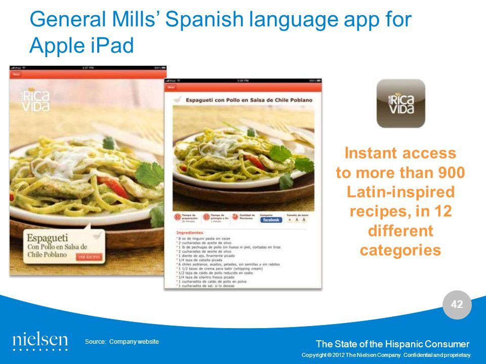 General Mills' Spanish language app for Apple iPad