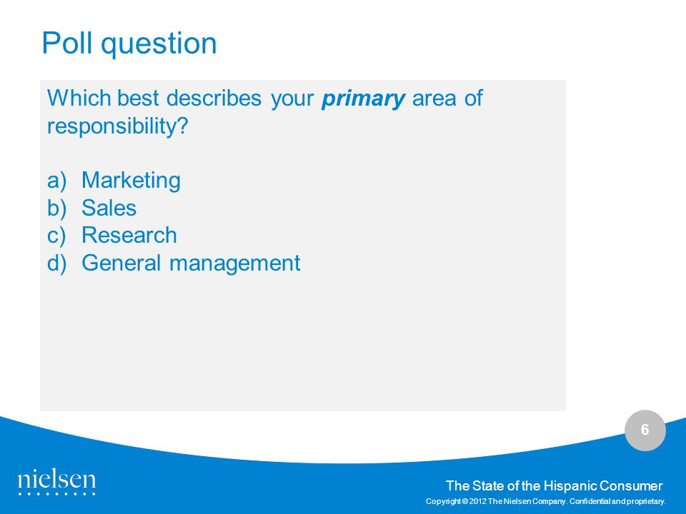Poll question Which best describes your primary area of responsibility Marketing. Sales. Research.