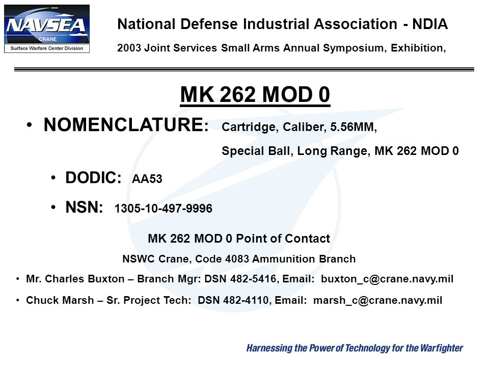 NSWC Crane, Code 4083 Ammunition Branch