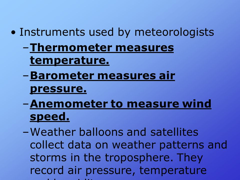 Instruments used by meteorologists