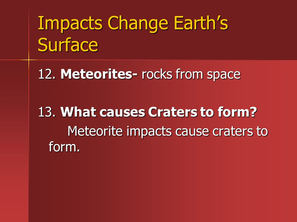 Impacts Change Earth's Surface