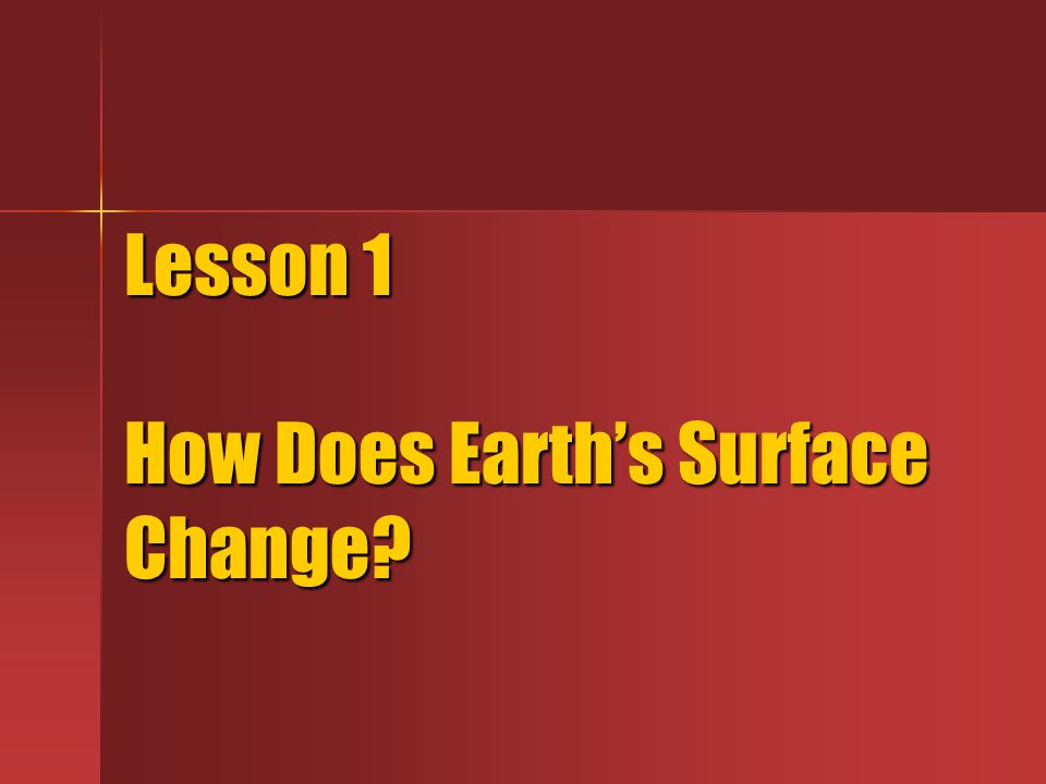 Lesson 1 How Does Earth's Surface Change