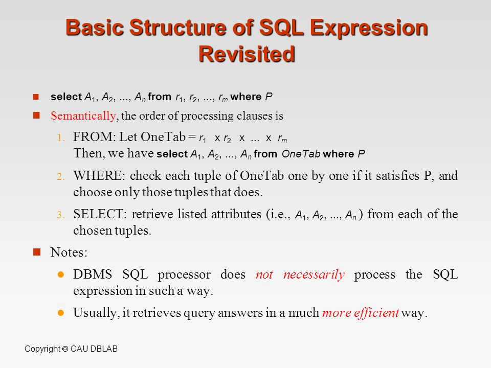 Basic Structure of SQL Expression Revisited