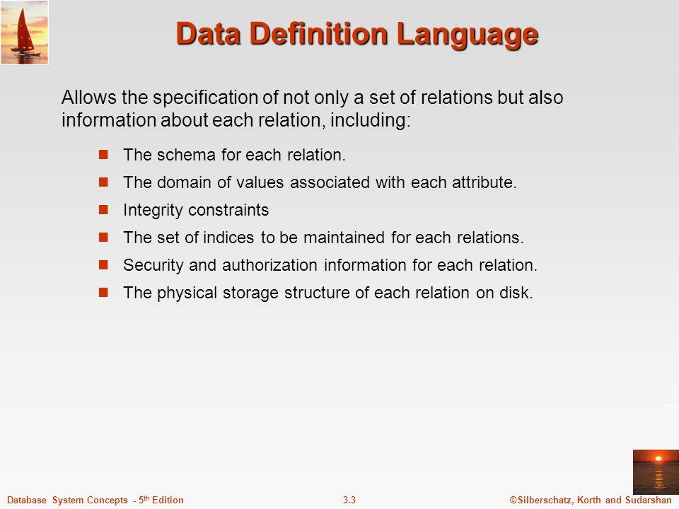Data Definition Language