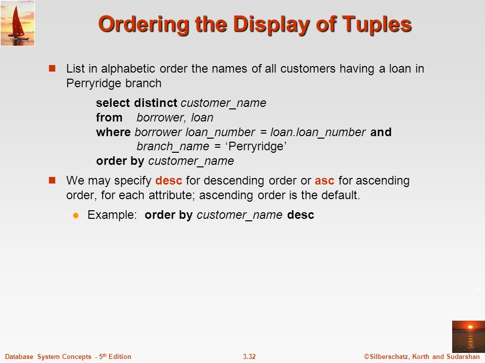 Ordering the Display of Tuples