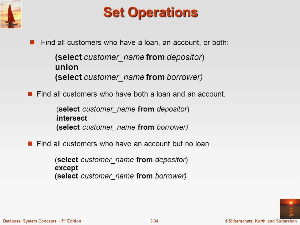 Set Operations Find all customers who have a loan, an account, or both: