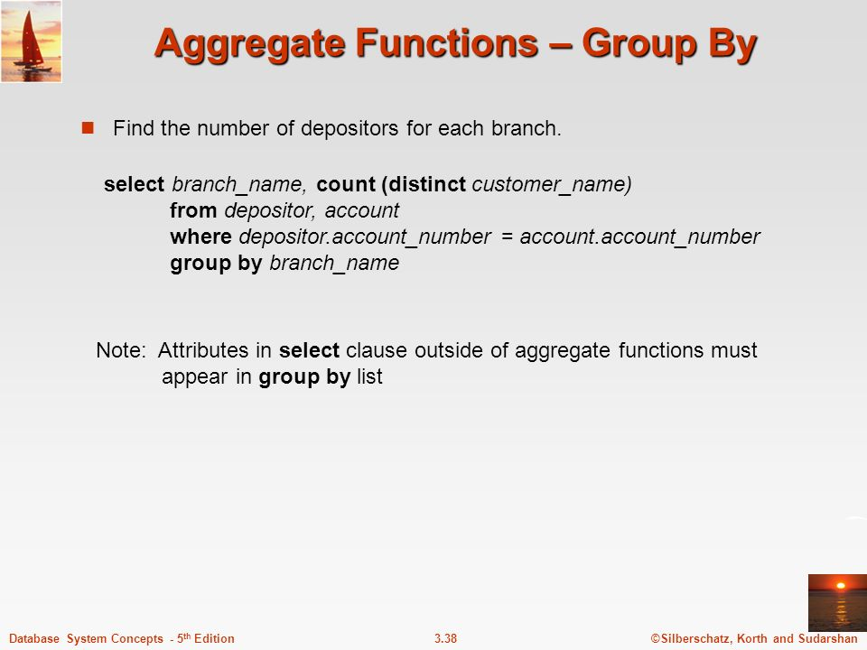 Aggregate Functions – Group By