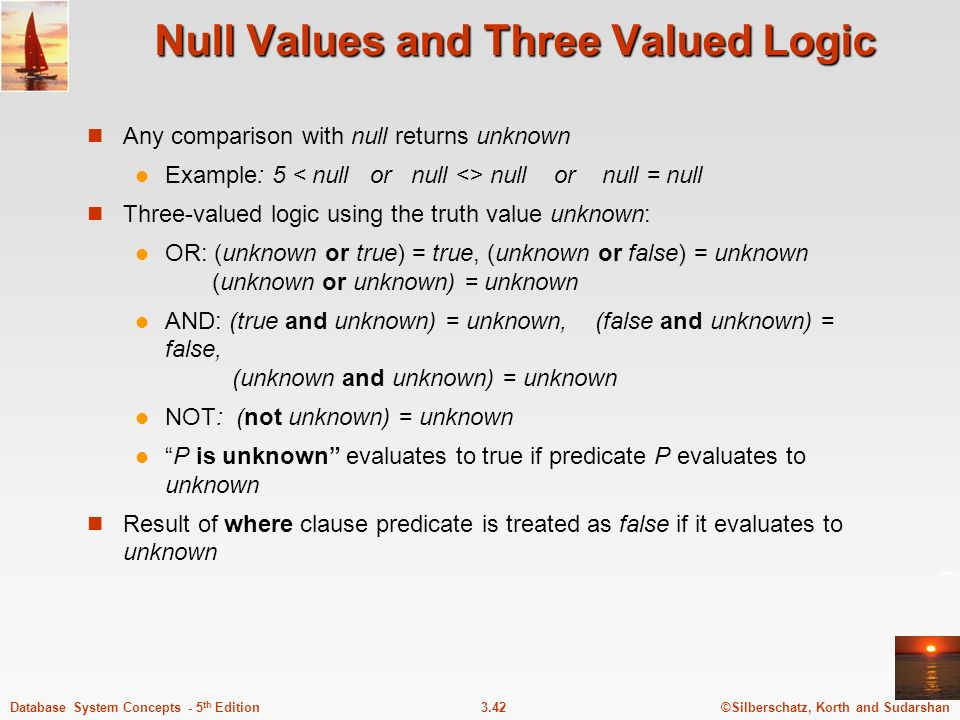 Null Values and Three Valued Logic