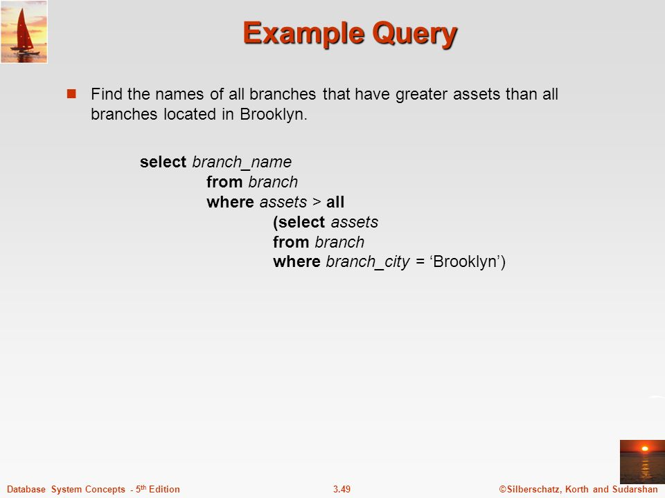 Example Query Find the names of all branches that have greater assets than all branches located in Brooklyn.