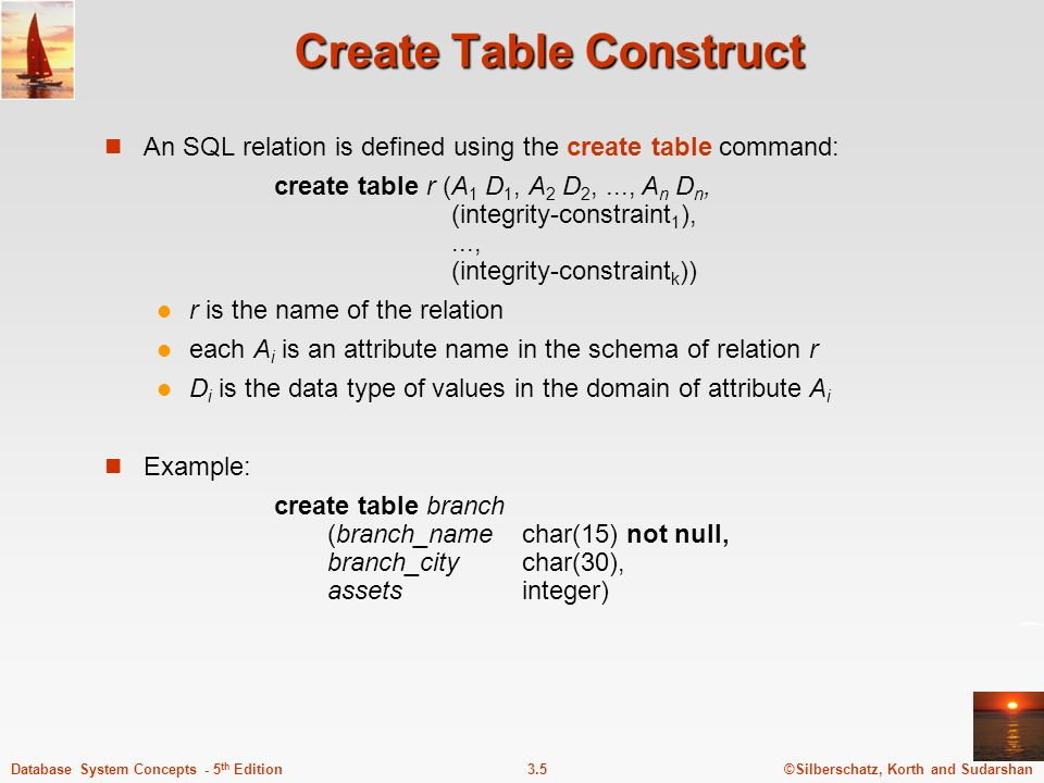 Create Table Construct