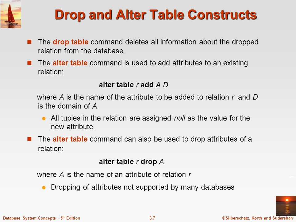 Drop and Alter Table Constructs