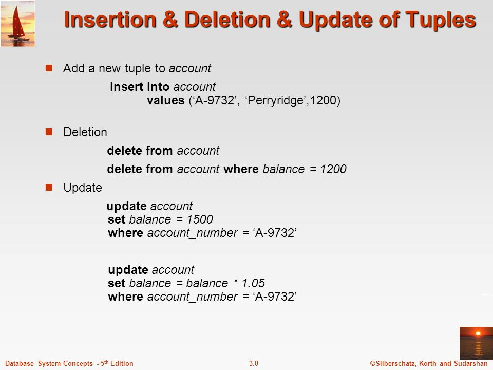 Insertion & Deletion & Update of Tuples