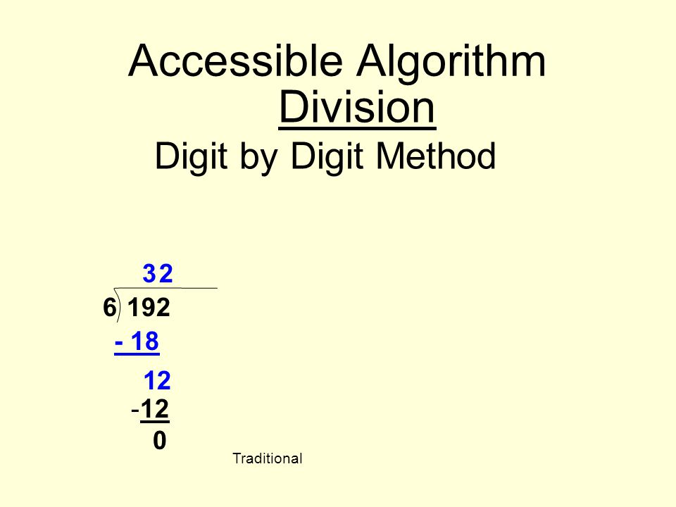 Accessible Algorithm Division Digit by Digit Method 3 2 6 192 - 18 1 2