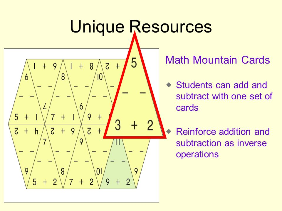 Unique Resources Math Mountain Cards