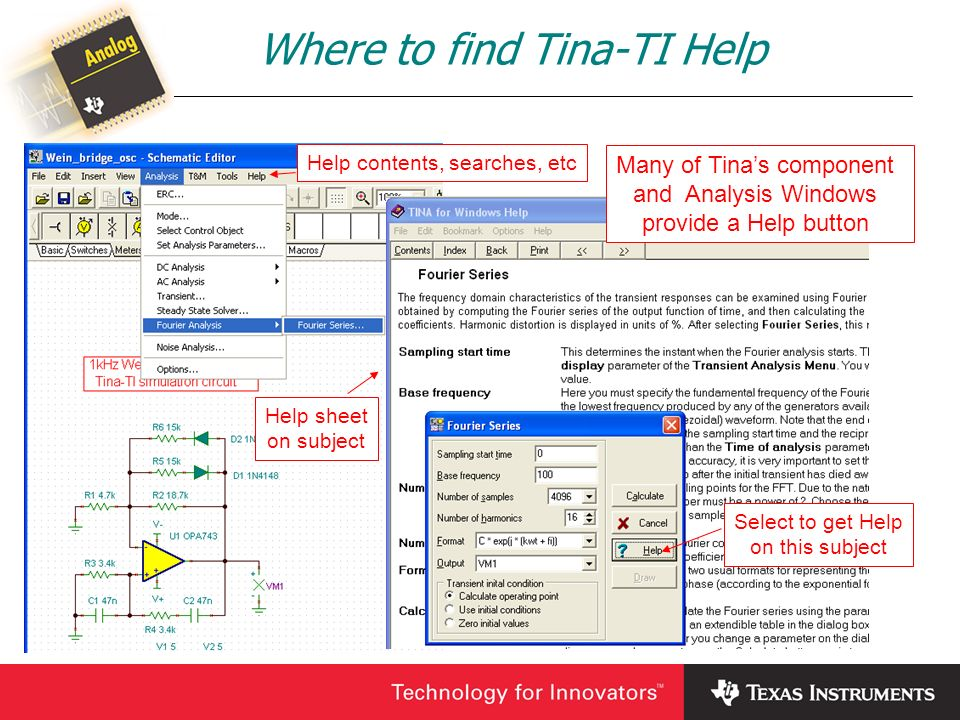 Where to find Tina-TI Help