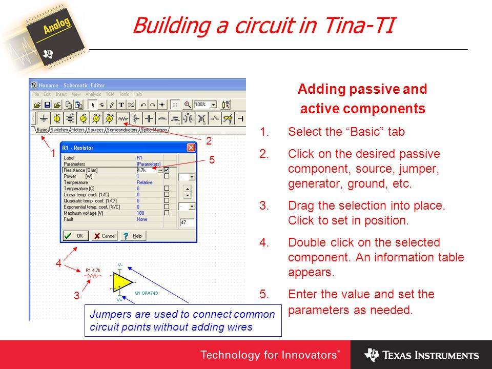 Building a circuit in Tina-TI