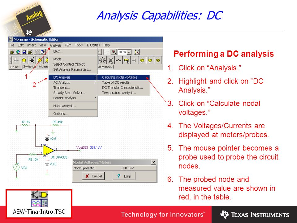 Analysis Capabilities: DC