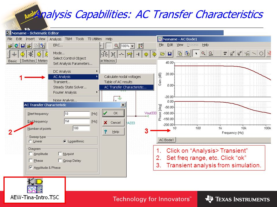 Analysis Capabilities: AC Transfer Characteristics