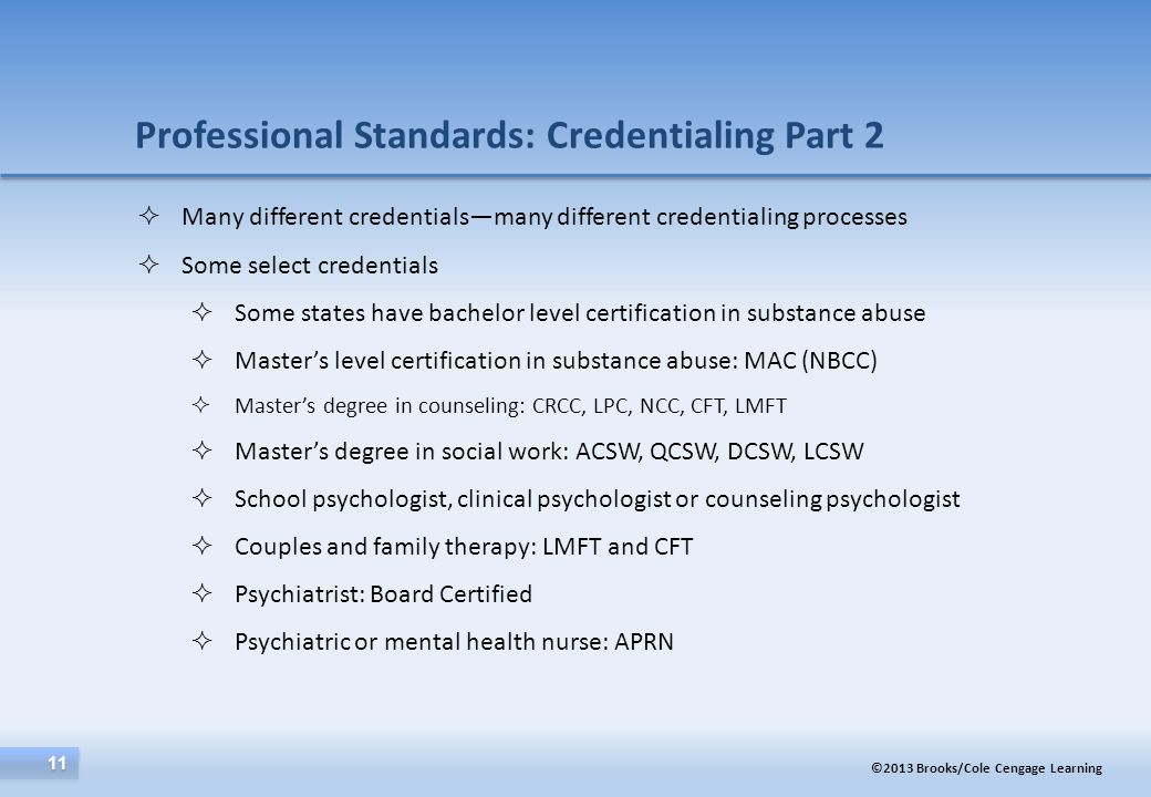 Professional Standards: Credentialing Part 2