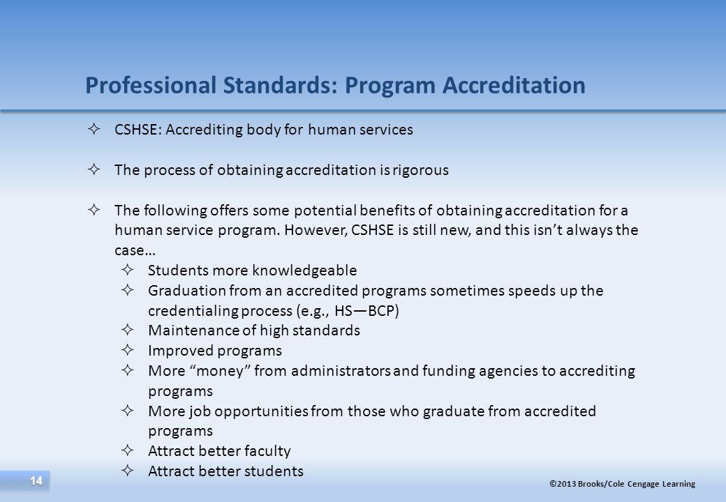 Professional Standards: Program Accreditation
