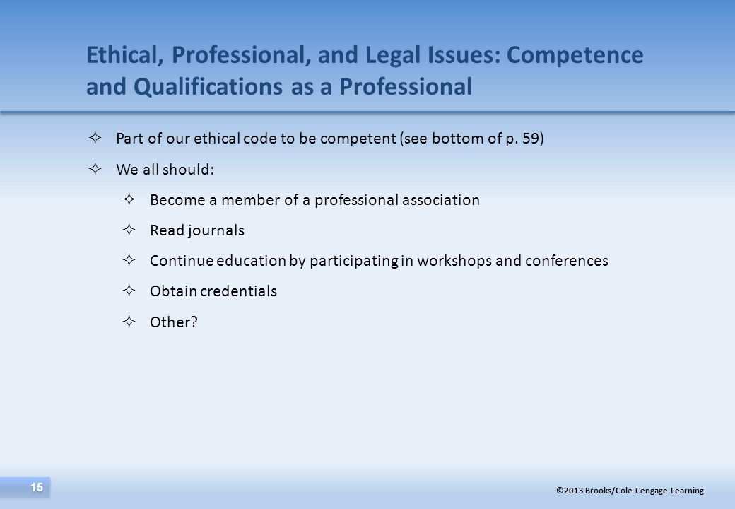 Ethical, Professional, and Legal Issues: Competence and Qualifications as a Professional