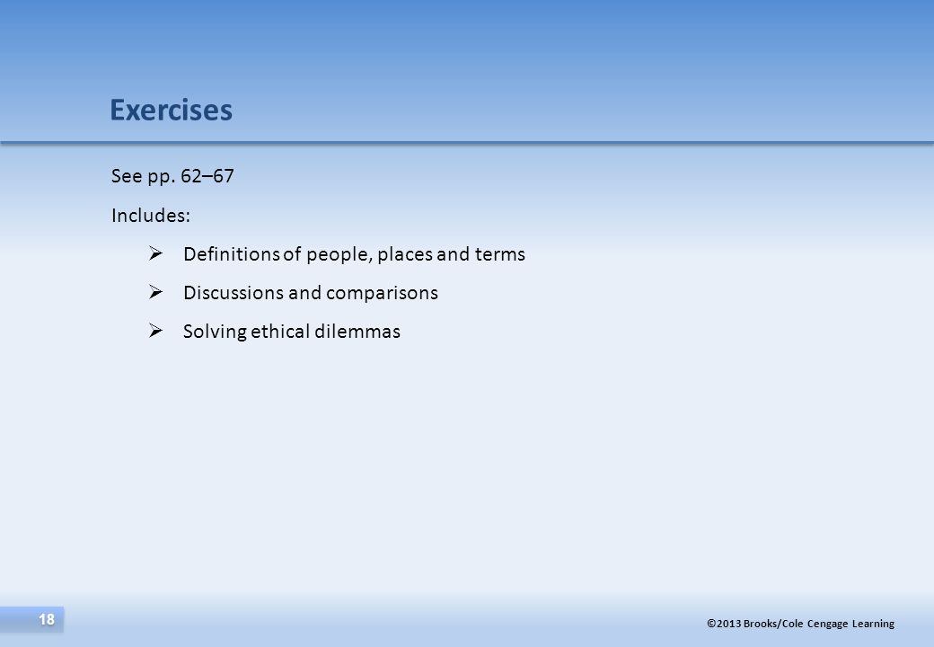 Exercises See pp. 62–67 Includes:
