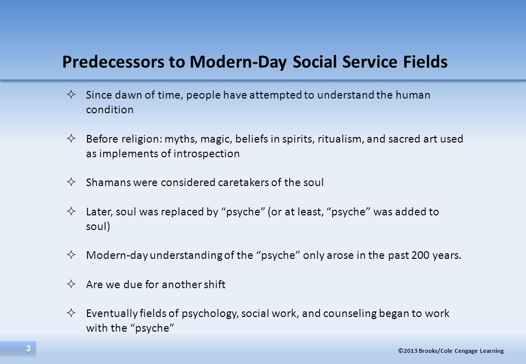 Predecessors to Modern-Day Social Service Fields