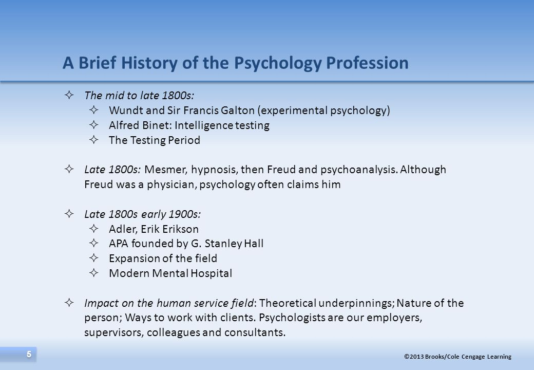 A Brief History of the Psychology Profession