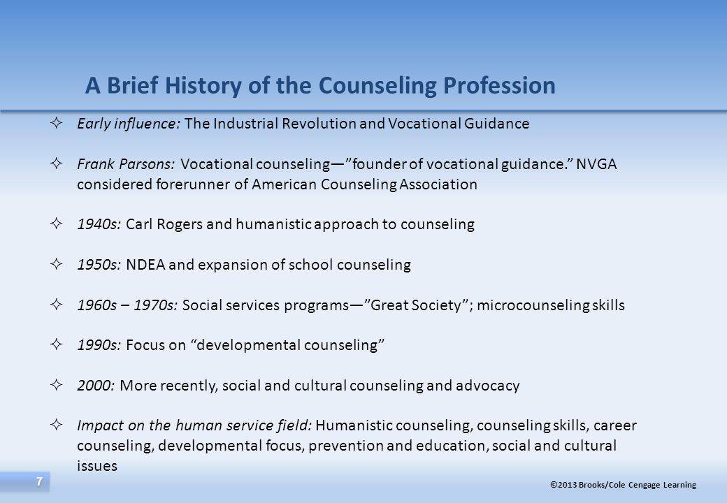A Brief History of the Counseling Profession