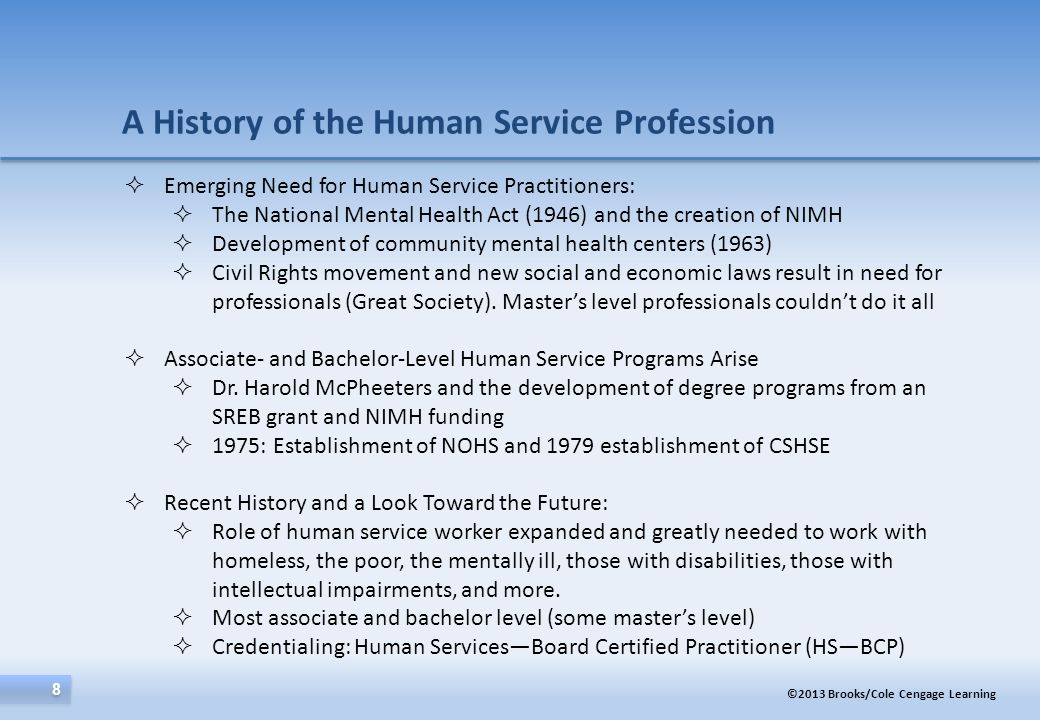 A History of the Human Service Profession