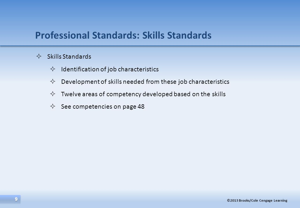 Professional Standards: Skills Standards