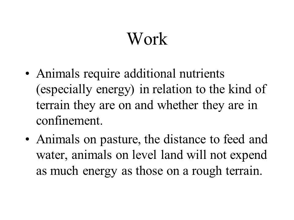 Work Animals require additional nutrients (especially energy) in relation to the kind of terrain they are on and whether they are in confinement.
