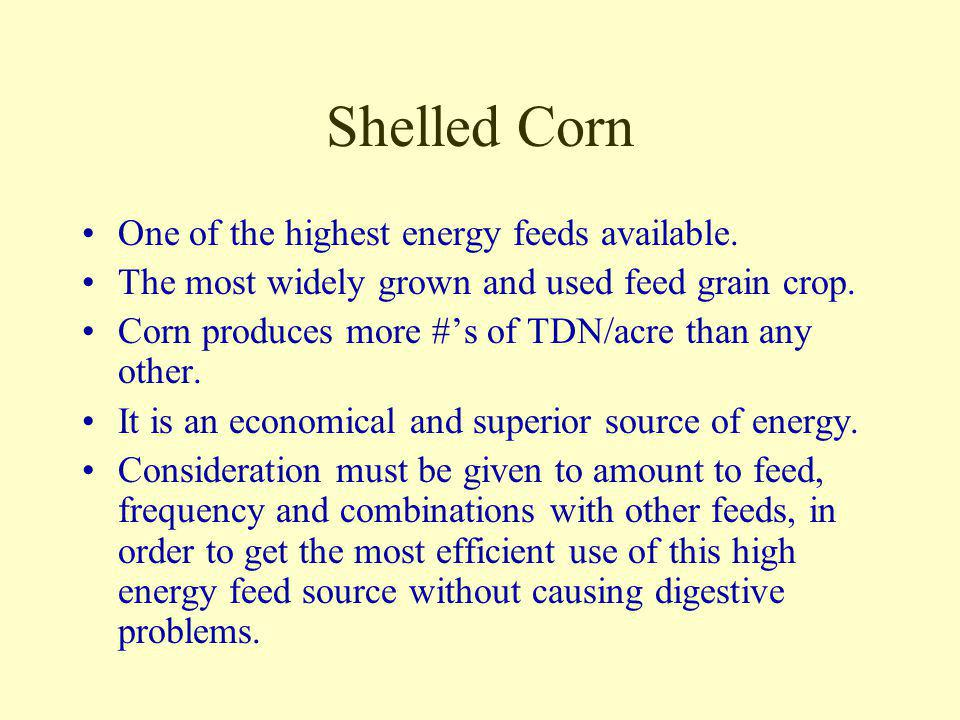 Shelled Corn One of the highest energy feeds available.