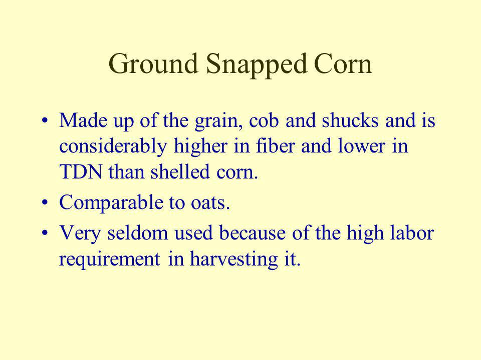 Ground Snapped Corn Made up of the grain, cob and shucks and is considerably higher in fiber and lower in TDN than shelled corn.