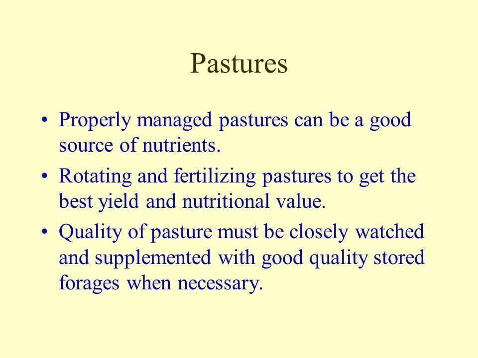 Pastures Properly managed pastures can be a good source of nutrients.