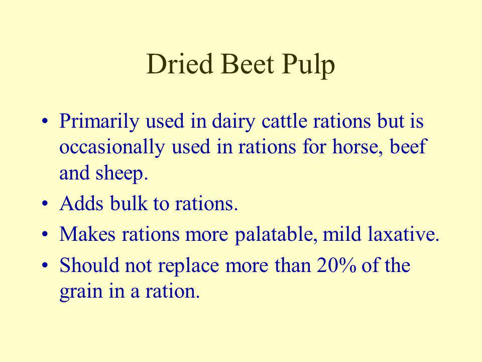 Dried Beet Pulp Primarily used in dairy cattle rations but is occasionally used in rations for horse, beef and sheep.