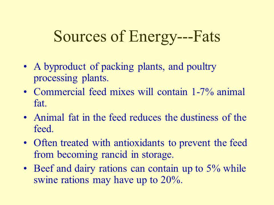 Sources of Energy---Fats