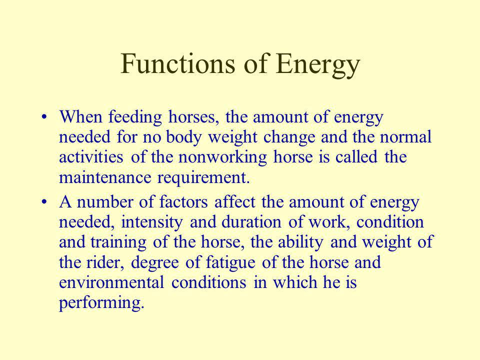 Functions of Energy