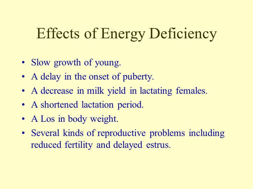Effects of Energy Deficiency